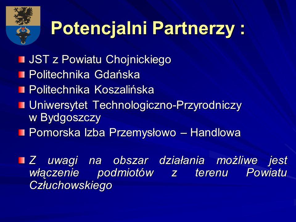 Potencjalni Partnerzy : JST z Powiatu Chojnickiego Politechnika Gdańska Politechnika Koszalińska Uniwersytet Technologiczno-Przyrodniczy w Bydgoszczy