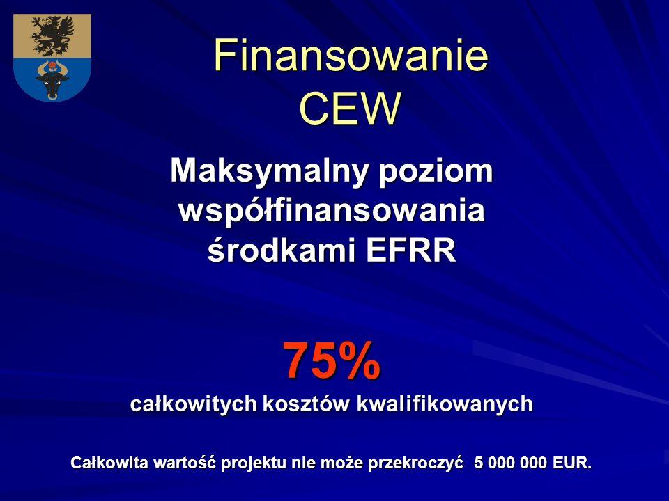 Finansowanie CEW Maksymalny poziom współfinansowania środkami EFRR 75% całkowitych kosztów kwalifikowanych Całkowita wartość projektu nie może przekroczyć 5 000 000 EUR.