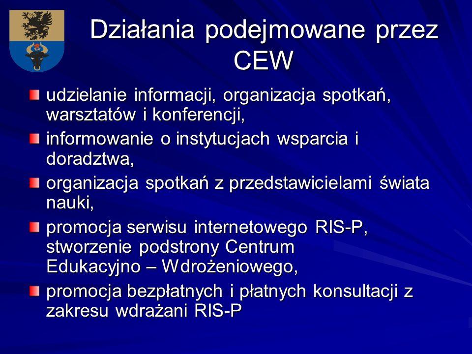 Działania podejmowane przez CEW udzielanie informacji, organizacja spotkań, warsztatów i konferencji, informowanie o instytucjach wsparcia i doradztwa, organizacja spotkań z przedstawicielami świata nauki, promocja serwisu internetowego RIS-P, stworzenie podstrony Centrum Edukacyjno – Wdrożeniowego, promocja bezpłatnych i płatnych konsultacji z zakresu wdrażani RIS-P