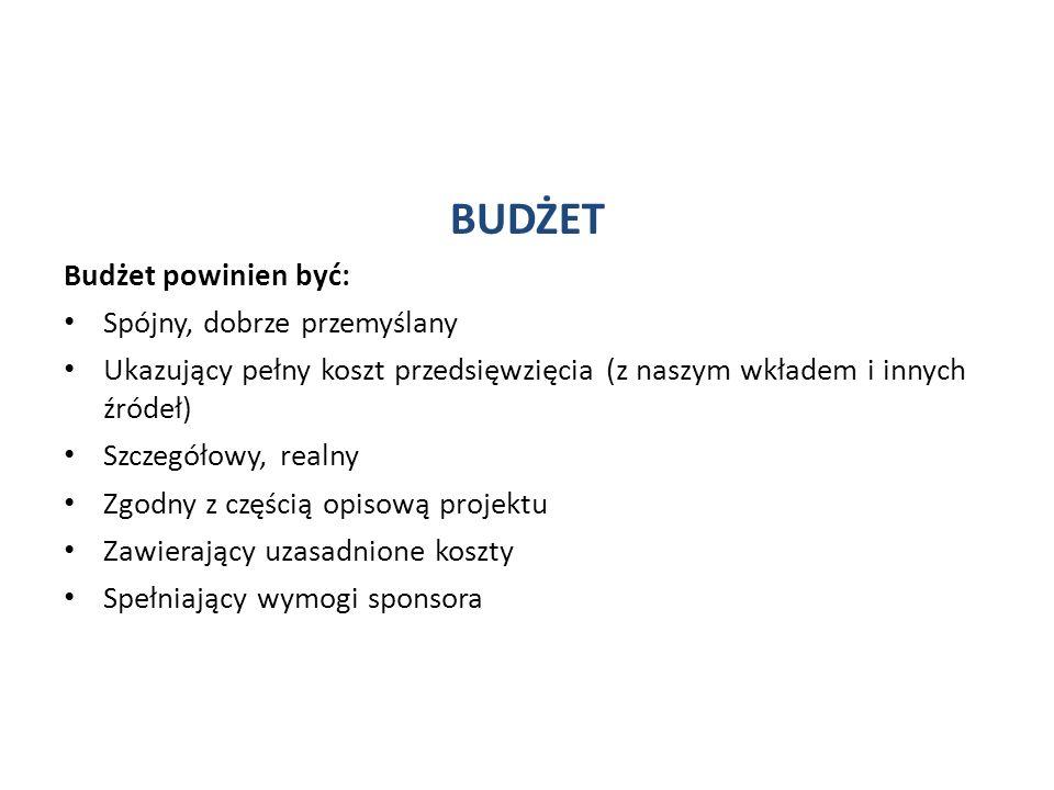 BUDŻET Budżet powinien być: Spójny, dobrze przemyślany Ukazujący pełny koszt przedsięwzięcia (z naszym wkładem i innych źródeł) Szczegółowy, realny Zgodny z częścią opisową projektu Zawierający uzasadnione koszty Spełniający wymogi sponsora