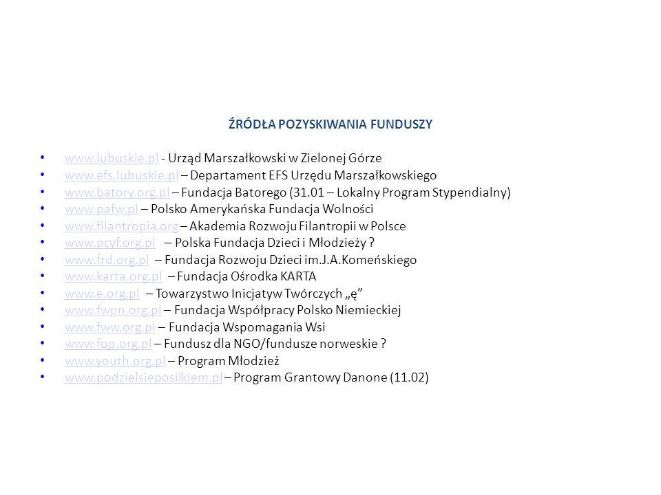 ŹRÓDŁA POZYSKIWANIA FUNDUSZY www.lubuskie.pl - Urząd Marszałkowski w Zielonej Górze www.lubuskie.pl www.efs.lubuskie.pl – Departament EFS Urzędu Marszałkowskiego www.efs.lubuskie.pl www.batory.org.pl – Fundacja Batorego (31.01 – Lokalny Program Stypendialny) www.batory.org.pl www.pafw.pl – Polsko Amerykańska Fundacja Wolności www.pafw.pl www.filantropia.org – Akademia Rozwoju Filantropii w Polsce www.filantropia.org www.pcyf.org.pl – Polska Fundacja Dzieci i Młodzieży .