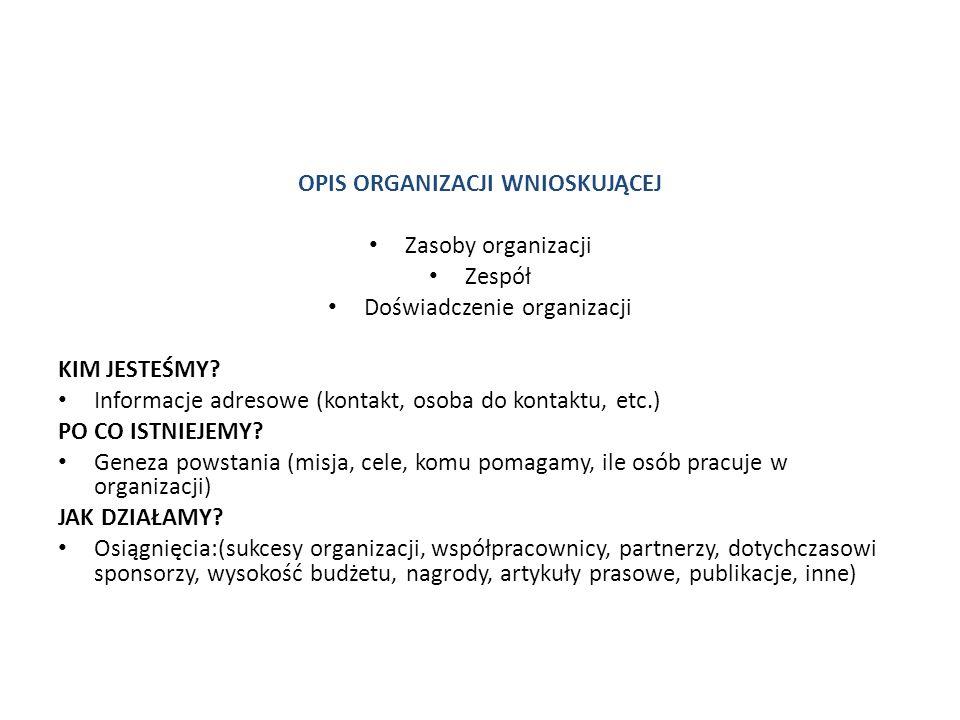 OPIS ORGANIZACJI WNIOSKUJĄCEJ Zasoby organizacji Zespół Doświadczenie organizacji KIM JESTEŚMY? Informacje adresowe (kontakt, osoba do kontaktu, etc.)