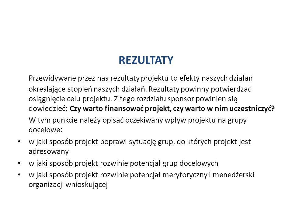 REZULTATY Przewidywane przez nas rezultaty projektu to efekty naszych działań określające stopień naszych działań. Rezultaty powinny potwierdzać osiąg