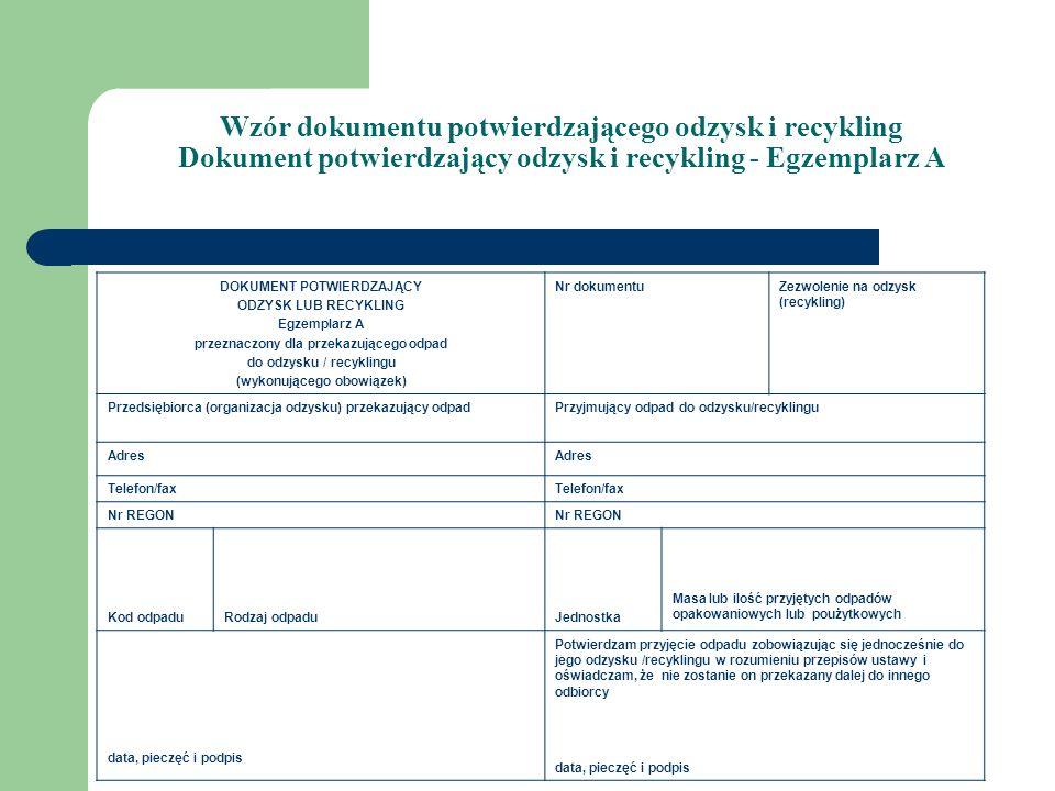 Wzór dokumentu potwierdzającego odzysk i recykling Dokument potwierdzający odzysk i recykling - Egzemplarz A DOKUMENT POTWIERDZAJĄCY ODZYSK LUB RECYKL