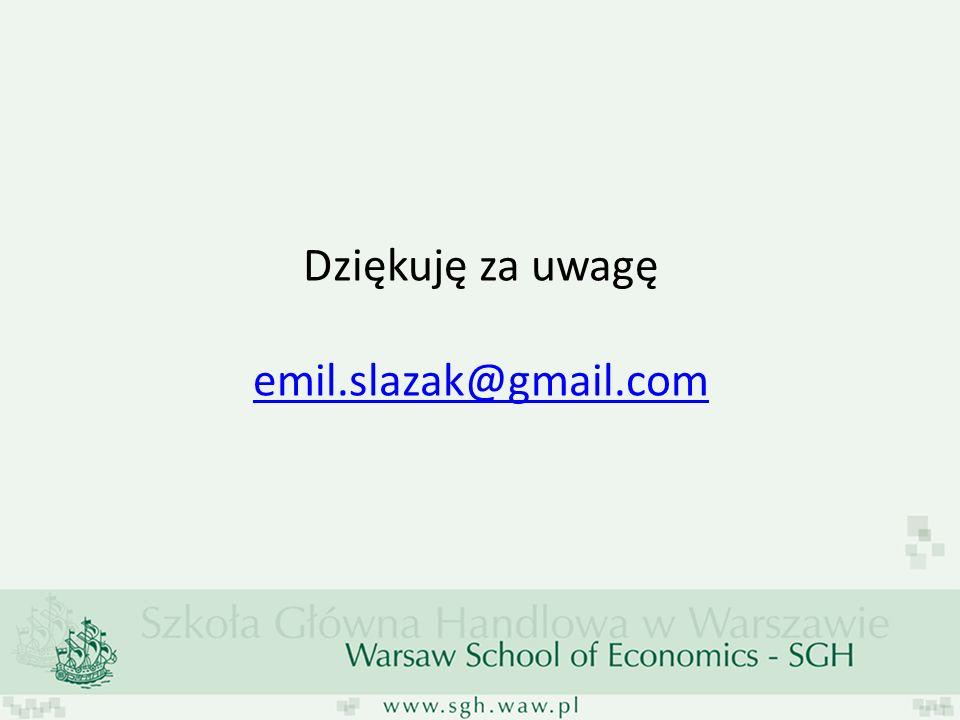 Dziękuję za uwagę emil.slazak@gmail.com emil.slazak@gmail.com