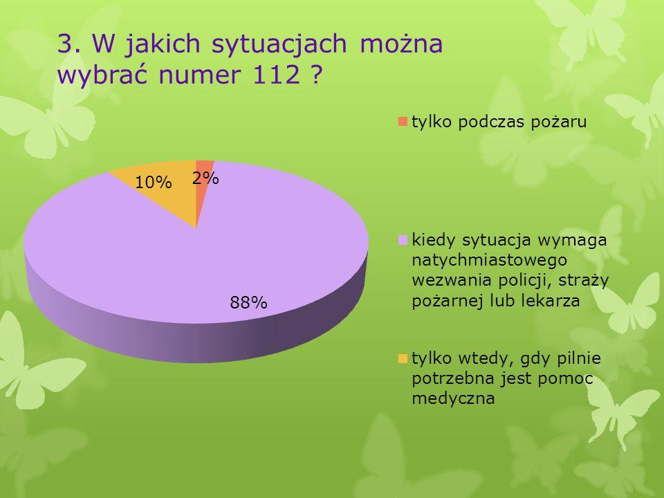 3. W jakich sytuacjach można wybrać numer 112 ?