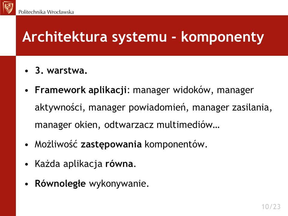 Architektura systemu - komponenty 3. warstwa. Framework aplikacji: manager widoków, manager aktywności, manager powiadomień, manager zasilania, manage