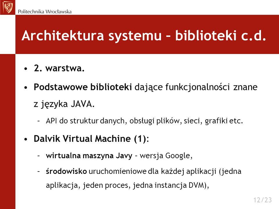 Architektura systemu – biblioteki c.d. 2. warstwa. Podstawowe biblioteki dające funkcjonalności znane z języka JAVA. –API do struktur danych, obsługi