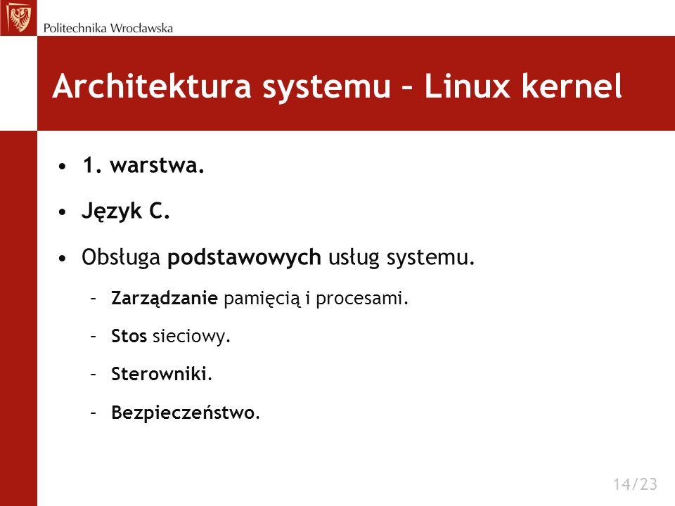 Architektura systemu – Linux kernel 1. warstwa. Język C. Obsługa podstawowych usług systemu. –Zarządzanie pamięcią i procesami. –Stos sieciowy. –Stero