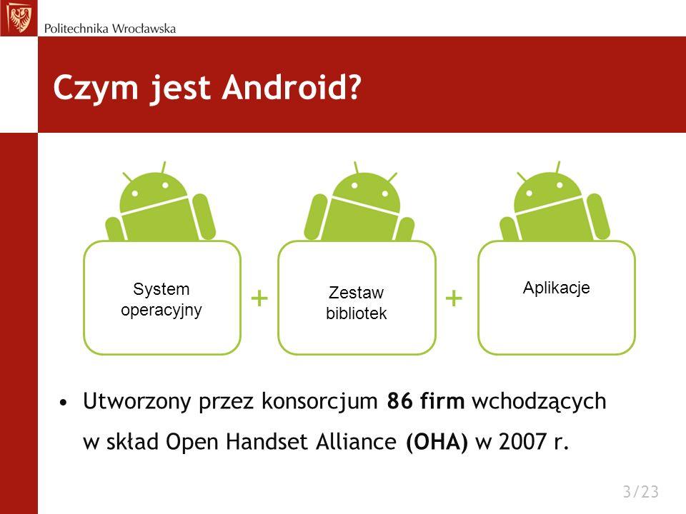 Utworzony przez konsorcjum 86 firm wchodzących w skład Open Handset Alliance (OHA) w 2007 r. Czym jest Android? 3/23 System operacyjny Zestaw bibliote