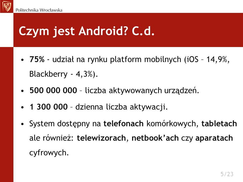 75% - udział na rynku platform mobilnych (iOS – 14,9%, Blackberry - 4,3%). 500 000 000 – liczba aktywowanych urządzeń. 1 300 000 – dzienna liczba akty
