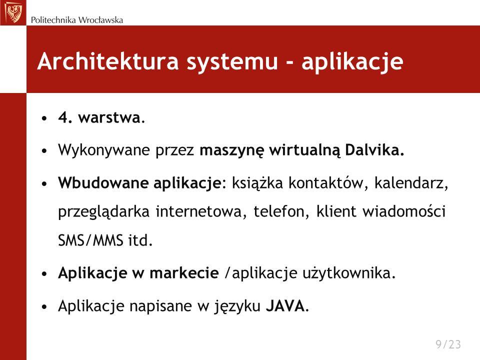 Architektura systemu - aplikacje 4. warstwa. Wykonywane przez maszynę wirtualną Dalvika. Wbudowane aplikacje: książka kontaktów, kalendarz, przeglądar