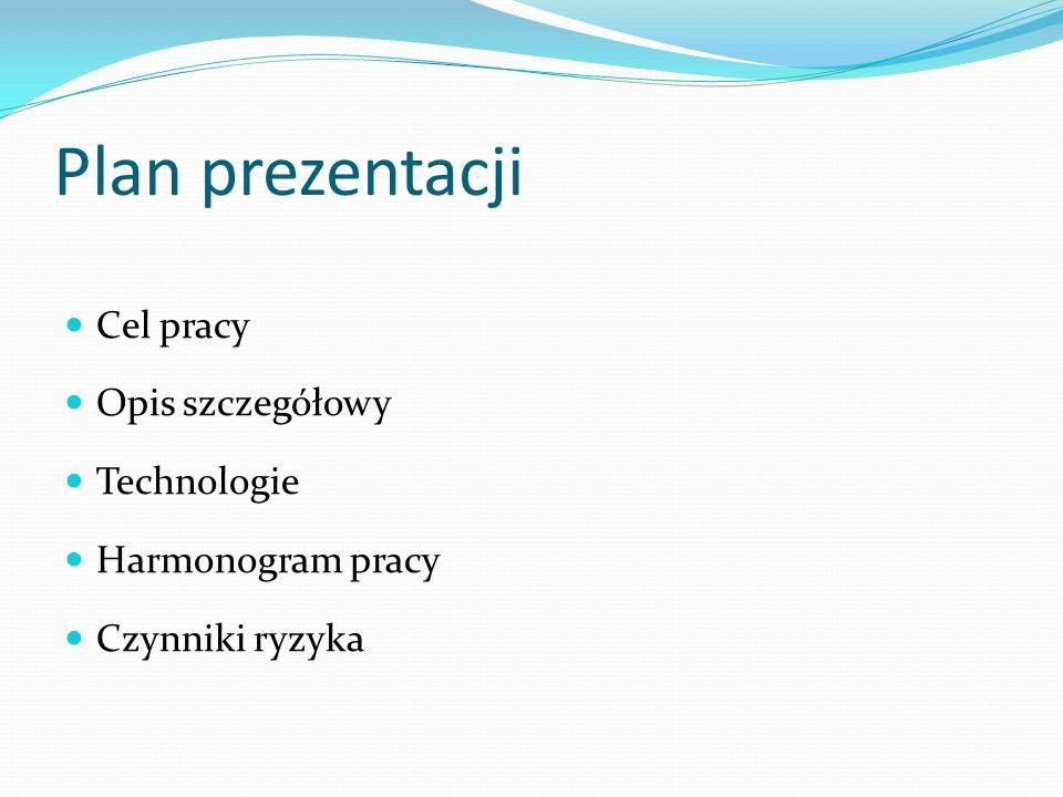 Plan prezentacji Cel pracy Opis szczegółowy Technologie Harmonogram pracy Czynniki ryzyka