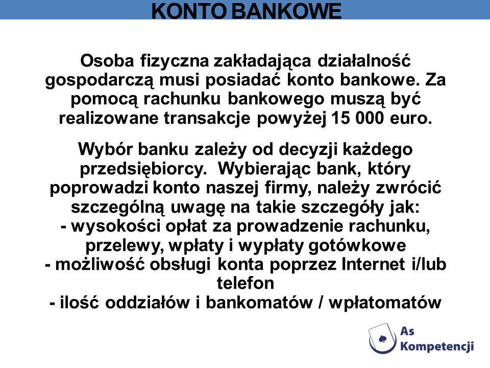 KONTO BANKOWE Osoba fizyczna zakładająca działalność gospodarczą musi posiadać konto bankowe. Za pomocą rachunku bankowego muszą być realizowane trans