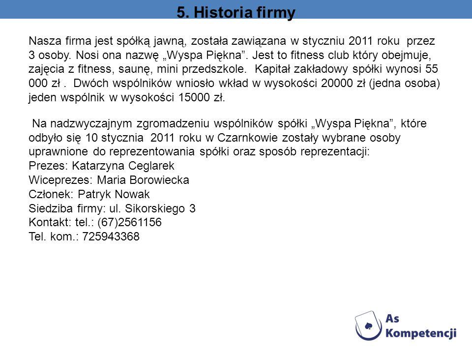 5. Historia firmy Nasza firma jest spółką jawną, została zawiązana w styczniu 2011 roku przez 3 osoby. Nosi ona nazwę Wyspa Piękna. Jest to fitness cl
