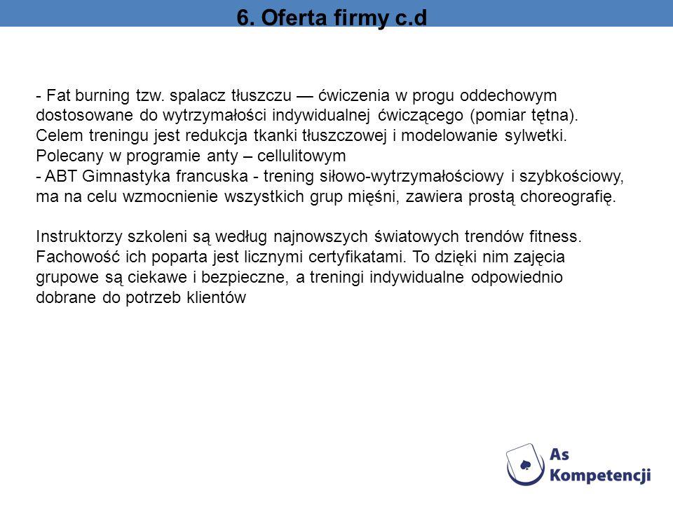 6. Oferta firmy c.d - Fat burning tzw. spalacz tłuszczu ćwiczenia w progu oddechowym dostosowane do wytrzymałości indywidualnej ćwiczącego (pomiar tęt