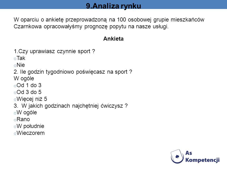 9.Analiza rynku W oparciu o ankietę przeprowadzoną na 100 osobowej grupie mieszkańców Czarnkowa opracowałyśmy prognozę popytu na nasze usługi. Ankieta