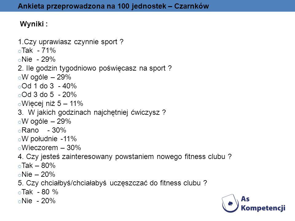 Ankieta przeprowadzona na 100 jednostek – Czarnków Wyniki : 1.Czy uprawiasz czynnie sport ? o Tak - 71% o Nie - 29% 2. Ile godzin tygodniowo poświęcas