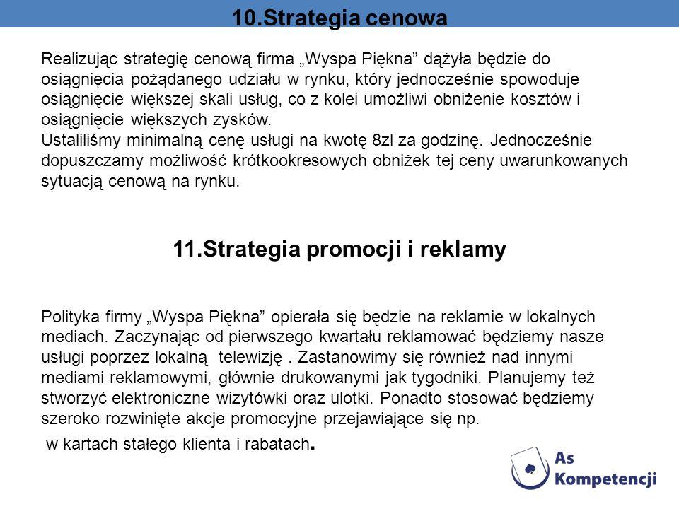 10.Strategia cenowa Realizując strategię cenową firma Wyspa Piękna dążyła będzie do osiągnięcia pożądanego udziału w rynku, który jednocześnie spowodu