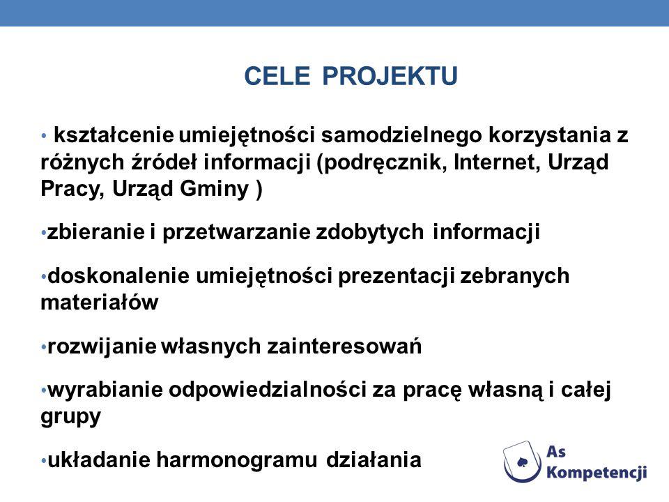 CELE PROJEKTU kształcenie umiejętności samodzielnego korzystania z różnych źródeł informacji (podręcznik, Internet, Urząd Pracy, Urząd Gminy ) zbieran