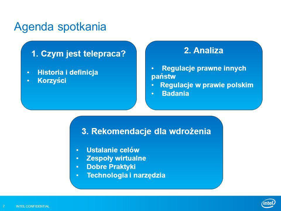 INTEL CONFIDENTIAL 2 Agenda spotkania 1. Czym jest telepraca? Historia i definicja Korzyści 3. Rekomendacje dla wdrożenia Ustalanie celów Zespoły wirt