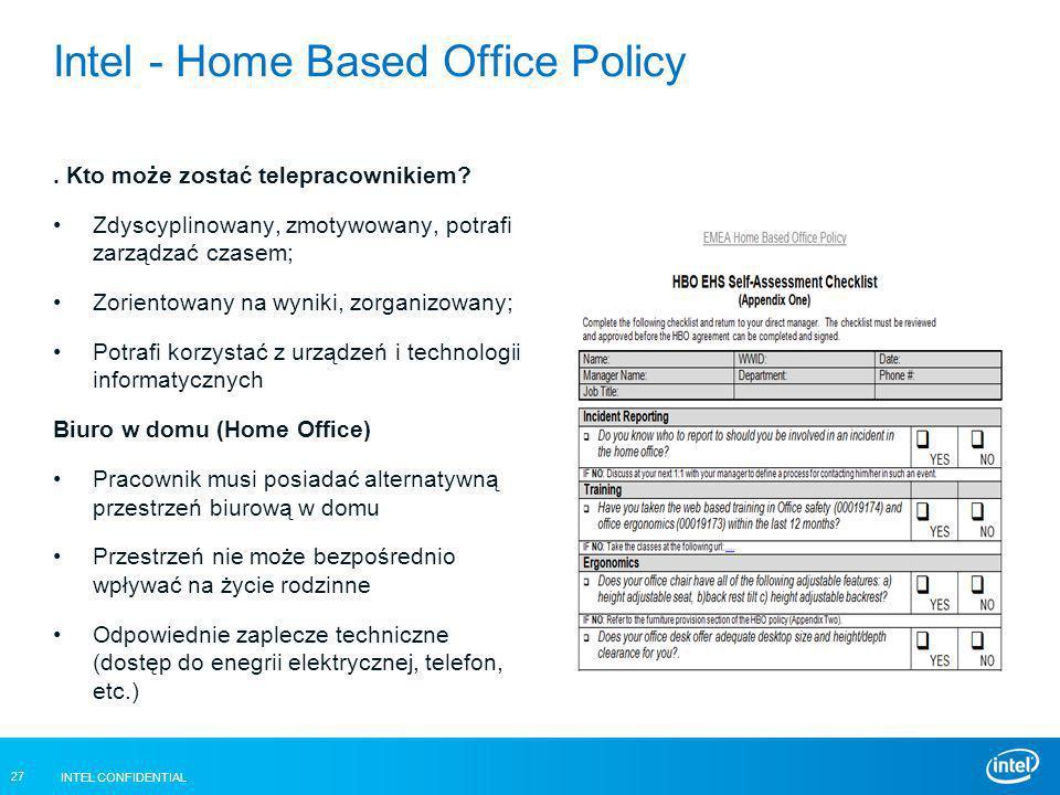 INTEL CONFIDENTIAL 27 Intel - Home Based Office Policy. Kto może zostać telepracownikiem? Zdyscyplinowany, zmotywowany, potrafi zarządzać czasem; Zori