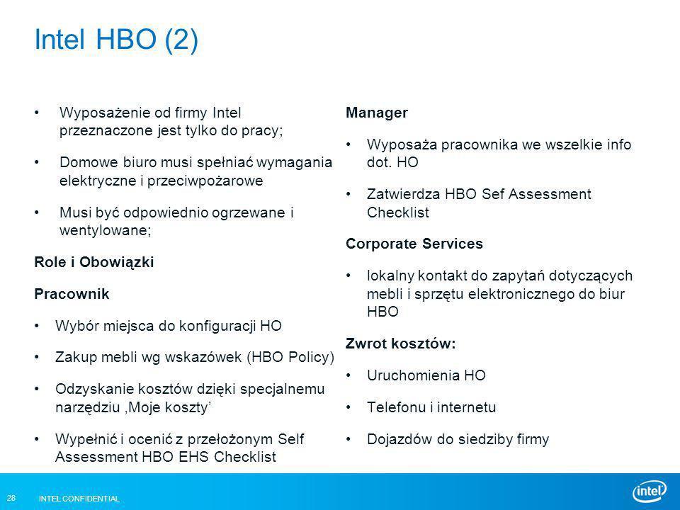 INTEL CONFIDENTIAL 28 Intel HBO (2) Wyposażenie od firmy Intel przeznaczone jest tylko do pracy; Domowe biuro musi spełniać wymagania elektryczne i pr