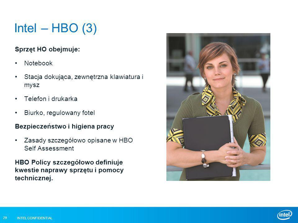 INTEL CONFIDENTIAL 29 Intel – HBO (3) Sprzęt HO obejmuje: Notebook Stacja dokująca, zewnętrzna klawiatura i mysz Telefon i drukarka Biurko, regulowany
