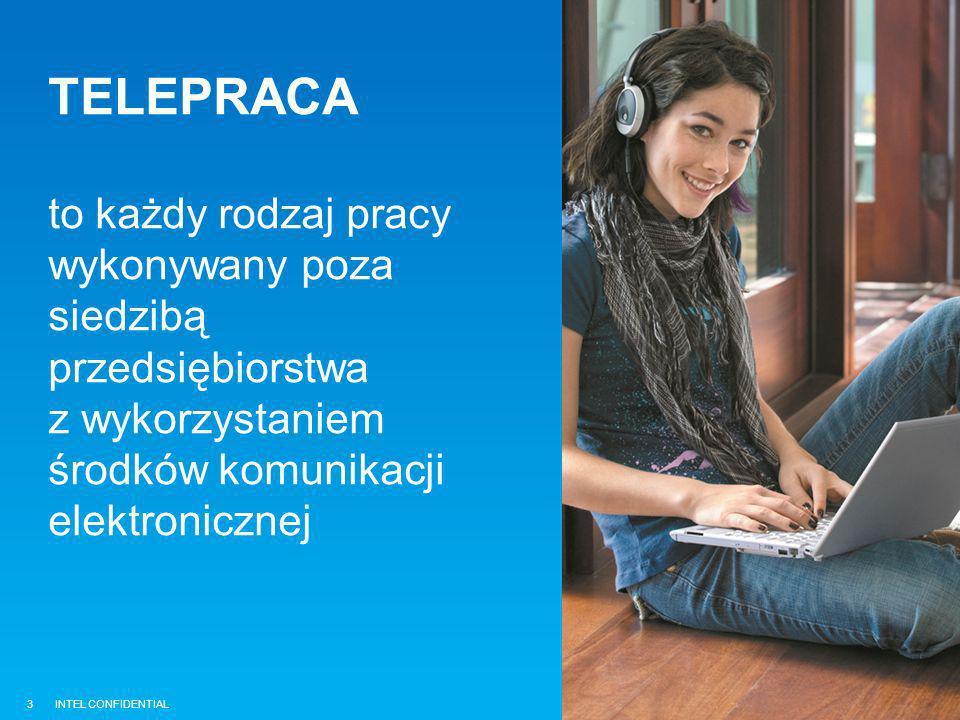 INTEL CONFIDENTIAL TELEPRACA to każdy rodzaj pracy wykonywany poza siedzibą przedsiębiorstwa z wykorzystaniem środków komunikacji elektronicznej 3