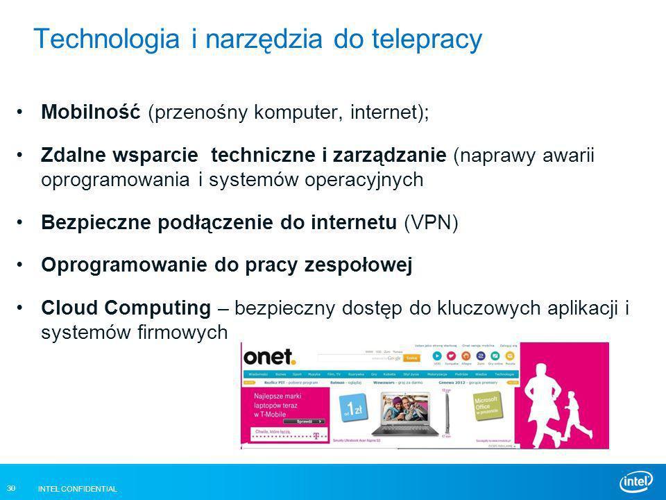 INTEL CONFIDENTIAL 30 Technologia i narzędzia do telepracy Mobilność (przenośny komputer, internet); Zdalne wsparcie techniczne i zarządzanie (naprawy