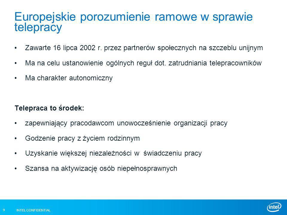 INTEL CONFIDENTIAL 9 Europejskie porozumienie ramowe w sprawie telepracy Zawarte 16 lipca 2002 r. przez partnerów społecznych na szczeblu unijnym Ma n