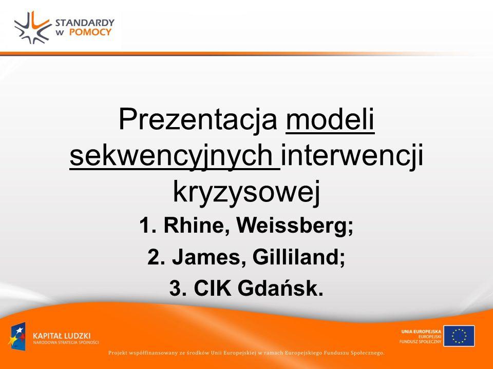 Prezentacja modeli sekwencyjnych interwencji kryzysowej 1.Rhine, Weissberg; 2.James, Gilliland; 3.CIK Gdańsk.