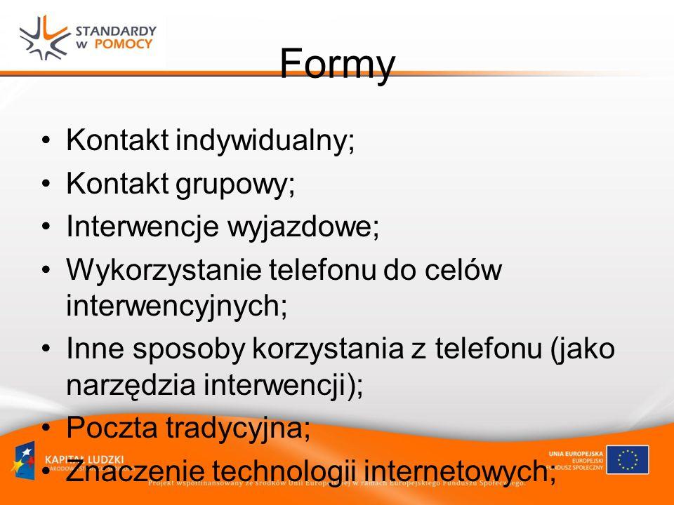 Formy Kontakt indywidualny; Kontakt grupowy; Interwencje wyjazdowe; Wykorzystanie telefonu do celów interwencyjnych; Inne sposoby korzystania z telefonu (jako narzędzia interwencji); Poczta tradycyjna; Znaczenie technologii internetowych;