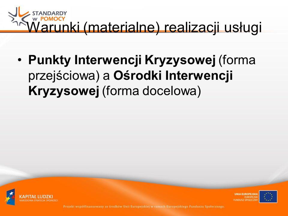 Warunki (materialne) realizacji usługi Punkty Interwencji Kryzysowej (forma przejściowa) a Ośrodki Interwencji Kryzysowej (forma docelowa)