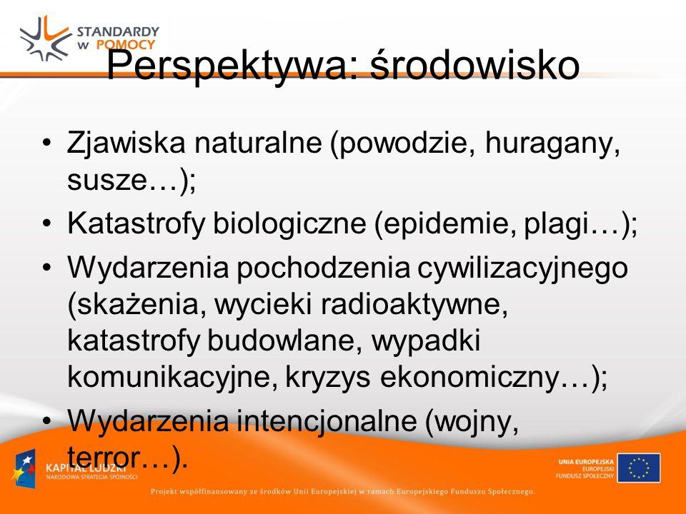 Perspektywa: środowisko Zjawiska naturalne (powodzie, huragany, susze…); Katastrofy biologiczne (epidemie, plagi…); Wydarzenia pochodzenia cywilizacyjnego (skażenia, wycieki radioaktywne, katastrofy budowlane, wypadki komunikacyjne, kryzys ekonomiczny…); Wydarzenia intencjonalne (wojny, terror…).