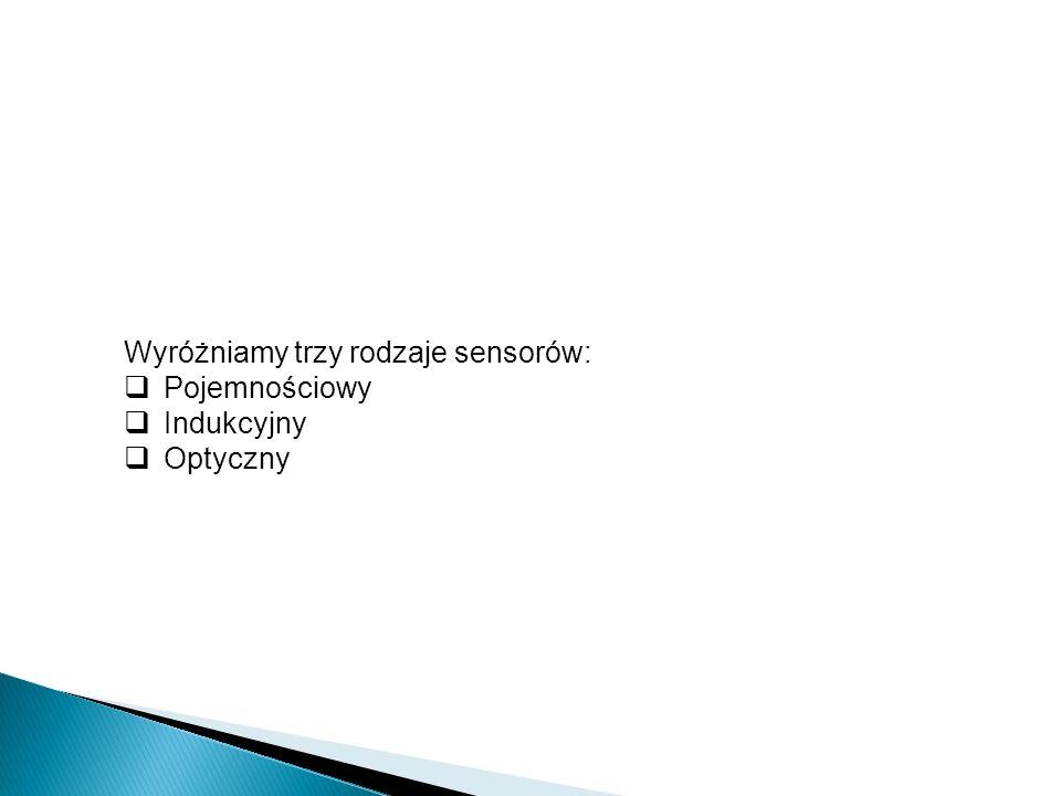 Wyróżniamy trzy rodzaje sensorów: Pojemnościowy Indukcyjny Optyczny