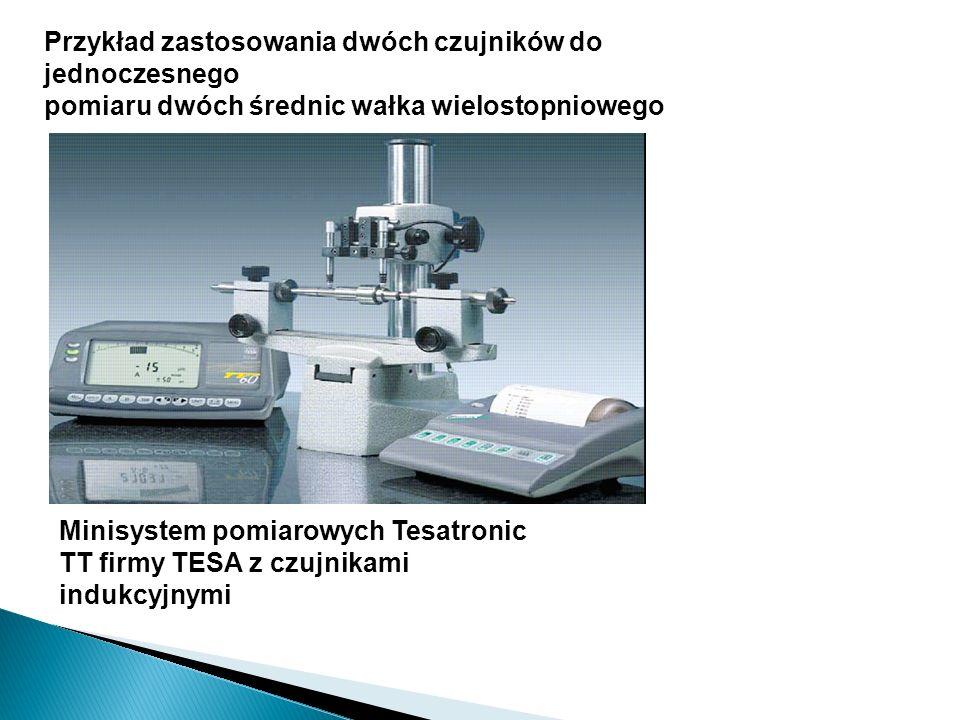 Przykład zastosowania dwóch czujników do jednoczesnego pomiaru dwóch średnic wałka wielostopniowego Minisystem pomiarowych Tesatronic TT firmy TESA z