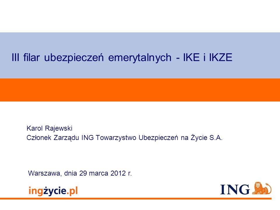 Pole zarezerwowane dla paska brandingowego III filar ubezpieczeń emerytalnych - IKE i IKZE Karol Rajewski Członek Zarządu ING Towarzystwo Ubezpieczeń