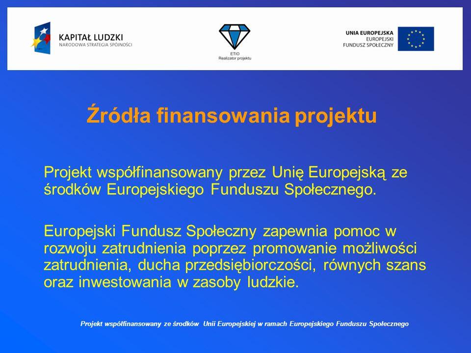 Źródła finansowania projektu Projekt współfinansowany przez Unię Europejską ze środków Europejskiego Funduszu Społecznego.