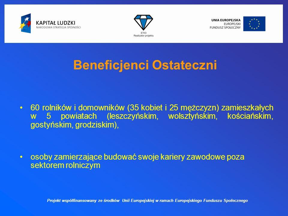 Beneficjenci Ostateczni 60 rolników i domowników (35 kobiet i 25 mężczyzn) zamieszkałych w 5 powiatach (leszczyńskim, wolsztyńskim, kościańskim, gostyńskim, grodziskim), osoby zamierzające budować swoje kariery zawodowe poza sektorem rolniczym Projekt współfinansowany ze środków Unii Europejskiej w ramach Europejskiego Funduszu Społecznego