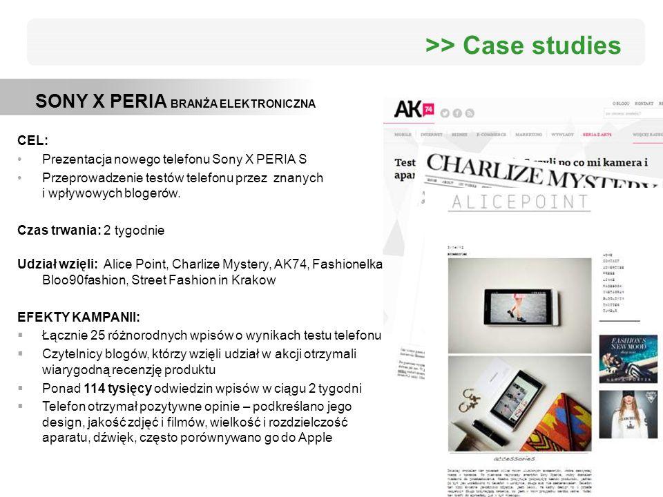 SONY X PERIA BRANŻA ELEKTRONICZNA >> Case studies CEL: Prezentacja nowego telefonu Sony X PERIA S Przeprowadzenie testów telefonu przez znanych i wpły