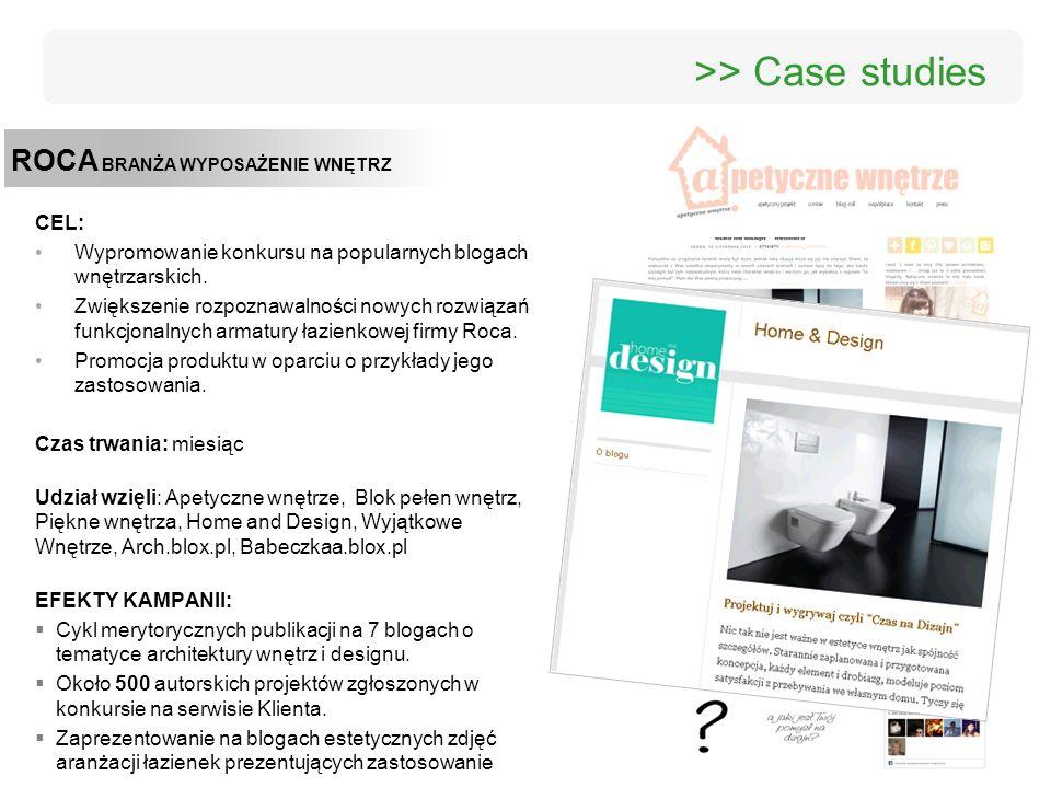 ROCA BRANŻA WYPOSAŻENIE WNĘTRZ >> Case studies CEL: Wypromowanie konkursu na popularnych blogach wnętrzarskich. Zwiększenie rozpoznawalności nowych ro