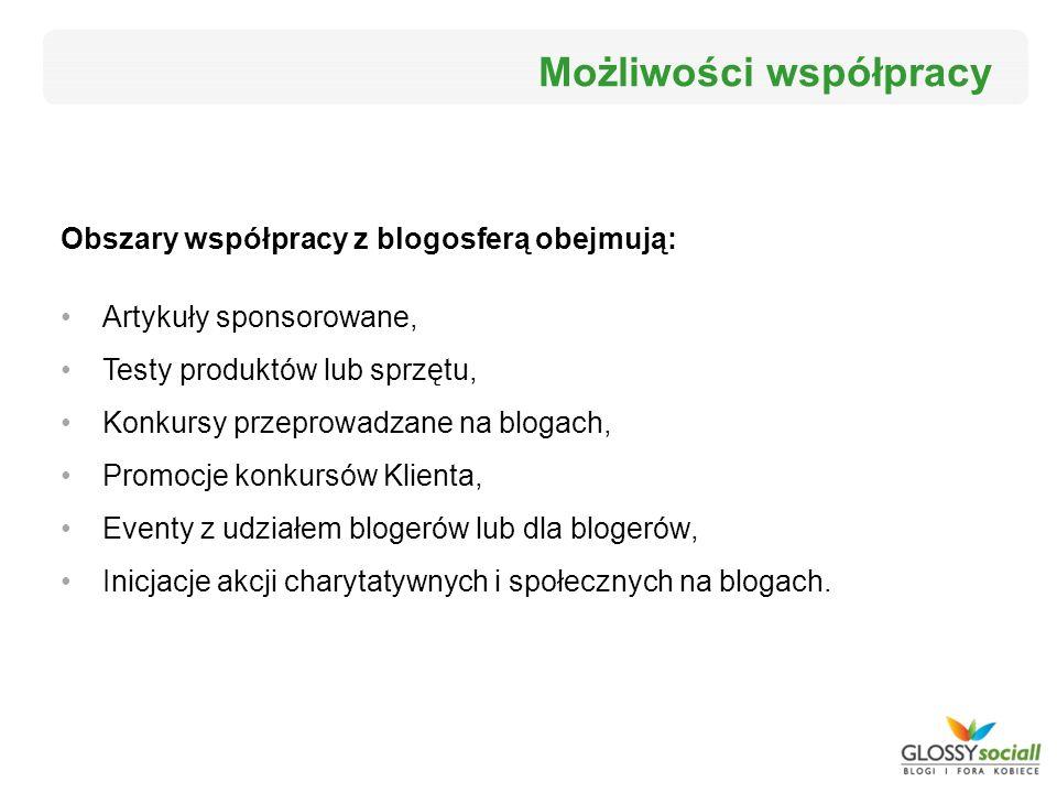 Obszary współpracy z blogosferą obejmują: Artykuły sponsorowane, Testy produktów lub sprzętu, Konkursy przeprowadzane na blogach, Promocje konkursów K