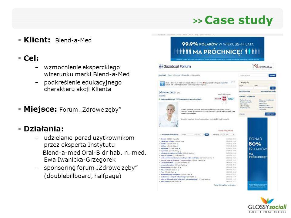 Klient: Blend-a-Med Cel: –wzmocnienie eksperckiego wizerunku marki Blend-a-Med –podkreślenie edukacyjnego charakteru akcji Klienta Miejsce: Forum Zdro