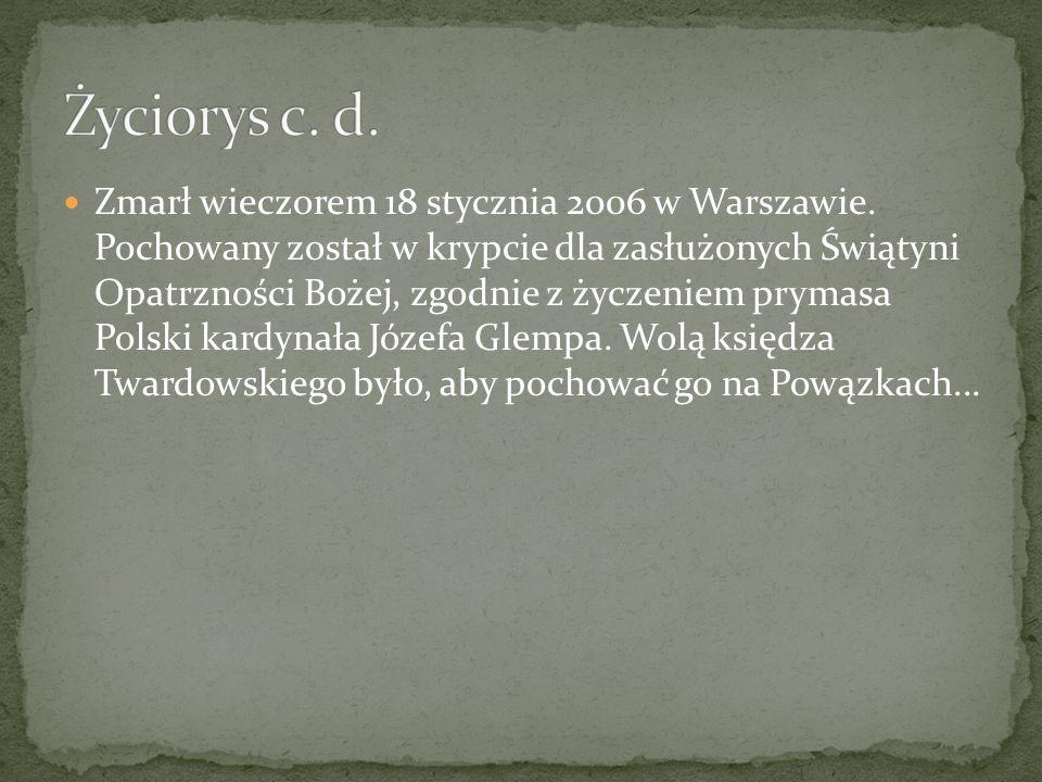 Zmarł wieczorem 18 stycznia 2006 w Warszawie. Pochowany został w krypcie dla zasłużonych Świątyni Opatrzności Bożej, zgodnie z życzeniem prymasa Polsk