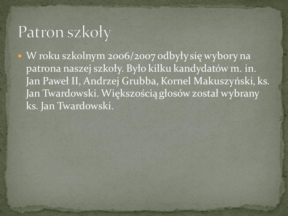 W roku szkolnym 2006/2007 odbyły się wybory na patrona naszej szkoły. Było kilku kandydatów m. in. Jan Paweł II, Andrzej Grubba, Kornel Makuszyński, k