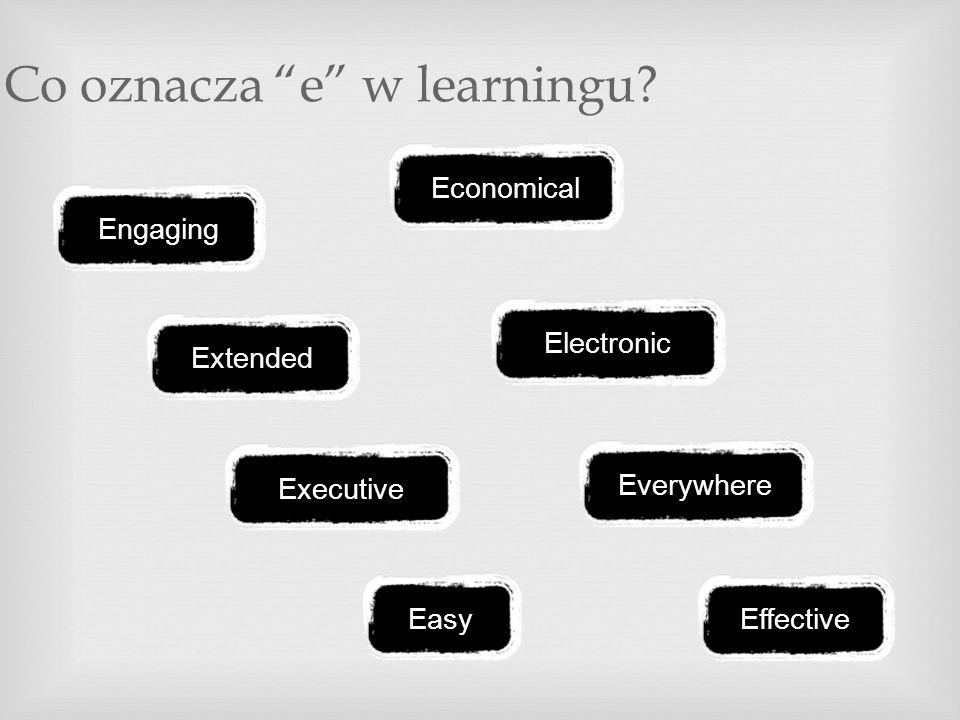 Co oznacza e w learningu? Economical Extended Everywhere Easy Engaging Executive Electronic Effective