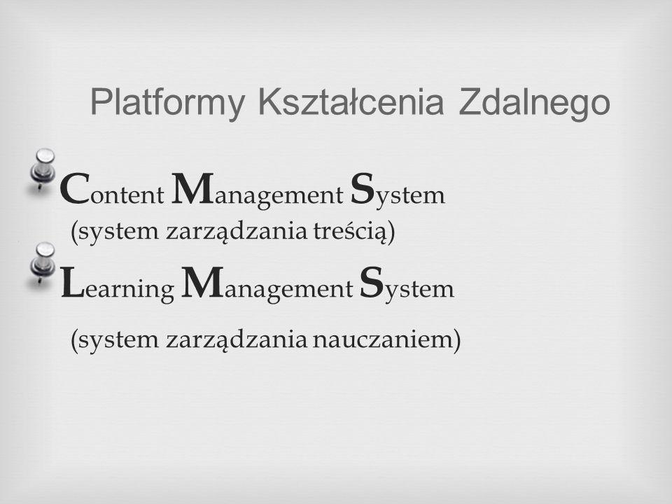Platformy Kształcenia Zdalnego C ontent M anagement S ystem (system zarządzania treścią) L earning M anagement S ystem (system zarządzania nauczaniem)