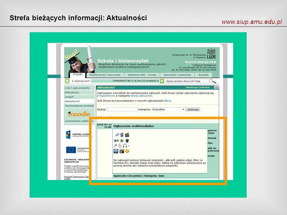 Strefa bieżących informacji: Aktualności www.siup.amu.edu.pl