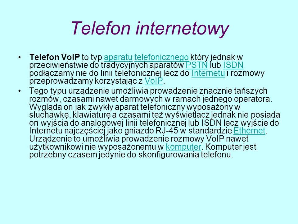Telefon internetowy Telefon VoIP to typ aparatu telefonicznego który jednak w przeciwieństwie do tradycyjnych aparatów PSTN lub ISDN podłączamy nie do